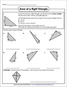 We have great worksheets for calculating the area of triangles! Check out these and all our other area and geometry worksheets!