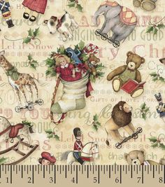 possible stocking fabric Holiday Inspirations Fabric- Susan Winget Vintage Toys Tossed