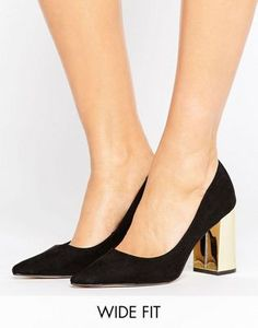 New Look Wide Fit | New Look Suedette Wide Fit Shoe with Gold Block Heel