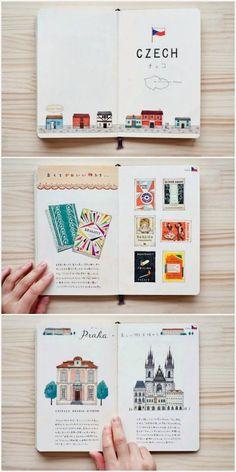 70 Ideas Travel Book Design Travelers Notebook For 2019 Voyage Sketchbook, Travel Sketchbook, Kunstjournal Inspiration, Sketchbook Inspiration, Sketchbook Ideas, Buch Design, Diy Design, Travel Illustration, Travel Design