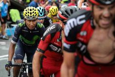 2016 22/7 rit 19 > Nairo Quintana (left) is a picture of grim determination [photo Kenzo Tribouillard/AFP/Getty Images/The Boston Globe]