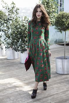 Mbfwi day 4 maritsa shop the look casual winter outfit cute booties chunky sweater Modest Dresses, Casual Dresses, Summer Dresses, Floral Dresses, Robes Vintage, Vintage Dresses, Komplette Outfits, Stylish Outfits, Preppy Trends