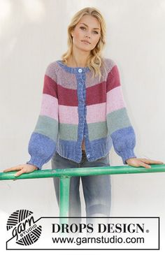 Sweet Country Sunrise Jacket - Knitted jacket with stripes, balloon sleeves and raglan. Piece is worked in DROPS Air, top down. Size: S - XXXL - Free pattern by DROPS Design Drops Design, Sweater Knitting Patterns, Knit Patterns, Free Knitting, Drops Kid Silk, Magazine Drops, Drops Patterns, Knit Pillow, Raglan