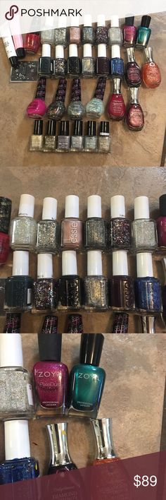 NAIL POLISH BUNDLE OPI ESSIE Welcome to my closet! This is a lot of nail polish. Includes 29 polishes! I used to work at Ulta and accumulated all of these and can't wear nail polish at my job now! Sadly getting rid of these beauties! Some have been lightly used some not at all but they are full and good condition! (Not goopy) haha brands included Essie, OPI, Sally Hanson, Zoya, Nicole, and Color Workshop. Other