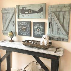 AIRPLANE NURSERY, 3 piece set, Vintage airplane decor, wood airplane wall art, aviation nursery decor, explorer nursery, travel nursery