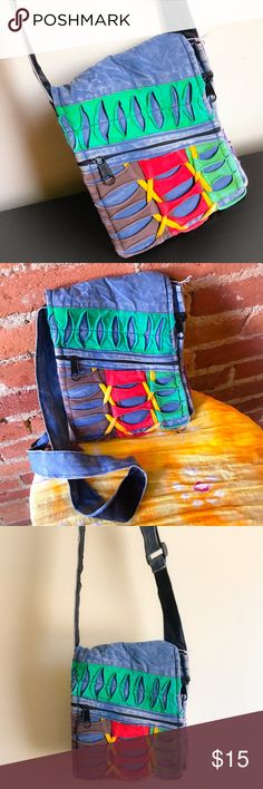 Hippie Bag (Made in Nepal) Fun, bright, & easy to carry! This colorful bag from Nepal has the cool faded look, extra zipper compartments, & an adjustable strap. Cha-Ching! 🌟😁💖 Bags Crossbody Bags