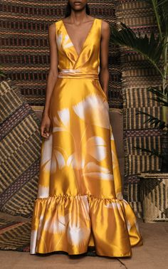 Get inspired and discover Johanna Ortiz trunkshow! Shop the latest Johanna Ortiz collection at Moda Operandi. Yellow Satin Dress, Satin Dresses, Elegant Dresses, Beautiful Dresses, Casual Dresses, Classy Dress, Classy Outfits, Chic Outfits, Fashion Outfits