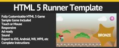 HTML 5 Runner Game Template - Bronze   http://codecanyon.net/item/html-5-runner-game-template-bronze/5337726?ref=damiamio       Use this HTML 5 game template to easily create your own variations of a fun and addicting auto running style HTML 5 game. This package includes character with running animation logic; one enemy type; and one collectible type.   You don't have to modify the source file to customize this game, just follow the instructions for changing the graphics and sound files…