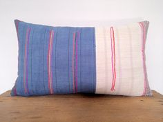 """12""""x 20""""  Blue & White with Neon Stripes Ethnic Hmong Hand Woven Lumbar Pillow Cover, Vintage Hill Tribal Textile Pillow Case"""