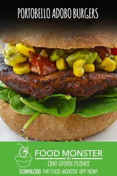 Portobello Adobo Burgers Vegan Dinner Recipes, Delicious Vegan Recipes, Vegetarian Meals, Vegan Dinners, Dairy Free Recipes, Vegan Loaf, Vegan Burgers, Portobello, Burger Recipes