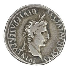 """Ancient coin minted by the Roman Emperor Augustus   Silver Denarius issued between 2-13 AD.   Obverse:   CAESAR AVGVSTVS DIVI F PATER PATRIAE. laureate head right   Reverse (not pictured):   AVGVSTI F COS DESIG PRINC IVVENT C, L CAESARES below   Gaius & Lucius standing front with shields & spears; in field above, a lituus left & simpulum right in """"b9"""" formation.  Gaius & Lucius were sons of Marcus Agrippa and Julia the Elder (Augustus' daughter).  Issue after Gaius and Lucius had died."""