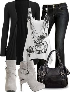 Black jean White Shirt High Heels Shoes And Black Handbag. At. http://www.fabfashionideas.com/