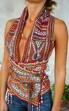Ethnic textile halter top