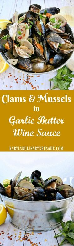Clams and Mussels in Garlic Butter White Wine Sauce. This light, yet extremely flavorful broth, adds such a wonderful punch to fresh clams and mussels. Perfect for a summer party, picnic, or just because at home