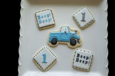 Little Blue Truck Cookies One year birthday cookies Truck cookies www.SoonerSugar.com