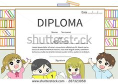 Cartoon Kindergarten and elementary school children Diploma certificate with library background design template layout with sample text, create by vector