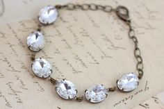 Vintage Jewel Crystal Antique Brass Clear   via Etsy.