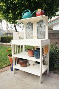 Changing Table & Stained Glass cabinet doors Repurposed to a potting bench ~ Salvaged Finds Turned Potting Bench with Tutorial Repurposed Furniture, Garden Furniture, Painted Furniture, Diy Furniture, House Furniture, Vintage Furniture, Furniture Design, Casa Art Deco, Potting Tables