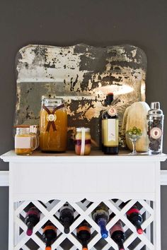 Rustic Thanksgiving party drink station! See more party planning ideas at CatchMyParty.com!