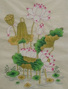 부천 민화 연꽃 연화도 수업 (성인취미미술) : 네이버 블로그 Lotus Painting, Lotus Art, Korean Art, Magic Carpet, Paint Designs, Botanical Prints, Chinese Art, Lotus Flower, Japanese Art