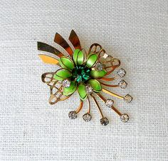 Green Enamel Flower Pin Gold with Emerald  by retrogroovie on Etsy, $15.00