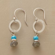 """RONDEAU EARRINGS--Bright spots of turquoise join sterling silver and labradorite beads to make the rounds on hand-forged hoops. French wires. Exclusive. Made in USA. 1-1/4""""L."""