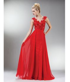 2014 Prom Dresses - Red Beaded Lace Mesh Cap Sleeve Long Dress (40867-CINJC931) van Cinderella Divine Moto - BACKORDERED...Price - $200.00-AU5AVdnm