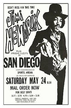 New reproduction poster of Jimi Hendrix at the San Diego sports arena It is printed on x heavy card stock. Looks great tacked up or framed. Set list from this Jimi Hendrix and The E Tour Posters, Band Posters, Pop Rock, Rock N Roll, Affiche Jimi Hendrix, Arte Hippy, Jimi Hendricks, Poster Retro, Vintage Concert Posters