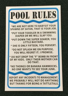 Pool Rules 12 inch wide by 18 inch tall Metal Funny Sign Outdoor living spa