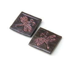 Large Ceramic Magnets Set of 2 Copper & Brown Dragonfly Magnets. $12.00, via Etsy by midnightcoiler