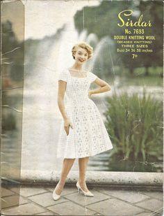 VINTAGE  KNITTING PATTERN 1950's DRESS W BEADED FRONT PANELS in Crafts, Crocheting & Knitting, Vintage Patterns | eBay
