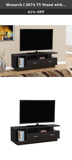"""Monarch I 2674 TV Stand with 2 Drawers, 60"""", Cappuccino. Complete your home decor with the simple contemporary elegance of this rich cappuccino TV console. With ample surface area that can accommodate up to a 60"""" flat panel tv this piece will add style and functionality to any living room. Featuring 2 large storage drawers for DVDs, CDs or other AV accessories and 4 open concept shelves perfect for your electronic components this unit is sure to keep you organized in style. Sleek silver..."""