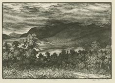 Leo Meissner(American, Mountain Tops the Dusky Clouds Ascending wood engraving via Uncle Leo, Wood Engraving, Ink Art, Word Art, Contemporary Art, Clouds, American, Illustration, Stamps