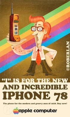 #graphicdesign ~ Vintage iPhone #advertisement Pub Vintage, Photo Vintage, Vintage Images, Vintage Posters, Apple Ii, Retro Ads, Vintage Advertisements, Nintendo Entertainment System, Apple Computer