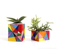 Convert wooden tea light holders to colorful plant pots using a wood burning tool and paint. They're beautiful and each … Painted Plant Pots, Painted Flower Pots, Ceramic Flower Pots, Barn Wood Crafts, Concrete Crafts, Bottle Art, Bottle Crafts, Wooden Tea Light Holder, Mosaic Pots