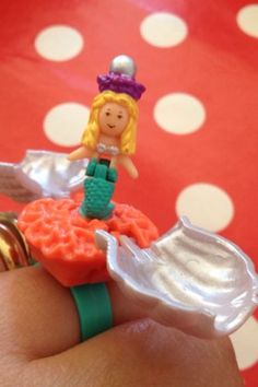 Vintage-souvenir-collection-polly-pocket-Pearl-jolie-surprise-Mermaid-ring