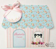 Convite Casinha de bonecas - Floral azul e rosa