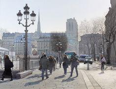 Hiver ensoleillé sur la place de l'hôtel de ville de Paris - 2013-12-22 13:29:43 Format : 66 cm x 52 cm