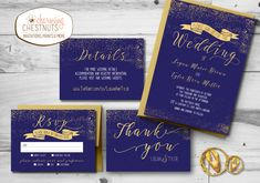 NAVY and GOLD Wedding Invitations Set, Classic gold, Printable wedding invite, blue wedding,  elegant gold and navy