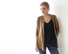 Metallic Bronze long sleeves Jacket with side pockets 2011 How To Dress For A Wedding, Metallic Jacket, Perfect Jeans, Have A Beautiful Day, Nice Dresses, One Piece, Stylish, Long Sleeve, Fabric