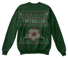 Footballer Ugly Christmas Sweater Deep Forest  Sweatshirt Front