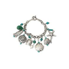 NOVICA 950 Silver and Turquoise Charm Bracelet ($215) ❤ liked on Polyvore featuring jewelry, bracelets, charm, natural turquoise, mens turquoise bracelets and mens silver bracelets
