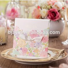 Low price colorful flower wedding birthday party events supplies Name Card Invitation Cards