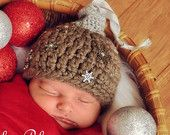 Newborn Baby Crochet Christmas Ornament Holiday Hat Photo Prop