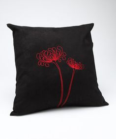 $14.99 Take a look at this KareElla Black & Red Embroidered Dual Chrysanthemums Pillowcase by Outfit Your Home: Accessories & Décor on #zulily today!