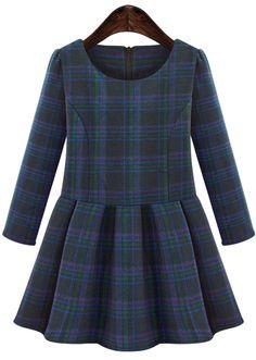 Blue Long Sleeve Plaid Ruffle Dress - Sheinside.com
