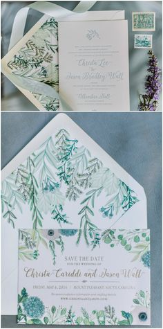 Green and teal wedding invitation suite, save the date, greenery graphics, light blue invitations, unique envelopes // Anne Rhett Photography
