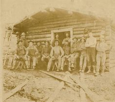 Old log cabin and loggers, Western Washington, circa 1890 :: Clear Lake Heritage