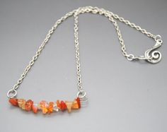 Carnelian Chip Focal Short Necklace by NecklaceNurse