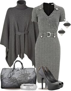 """Monochrome Poncho & Vuitton"" by yasminasdream ❤ liked on Polyvore"